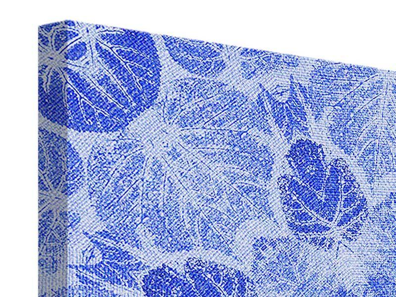 Leinwandbild 4-teilig Blaues Ornament