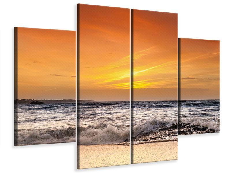 Leinwandbild 4-teilig See mit Sonnenuntergang