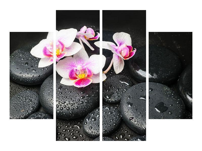 Leinwandbild 4-teilig Feng-Shui-Orchidee Zen