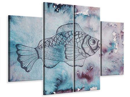 Leinwandbild 4-teilig Fisch-Aquarell
