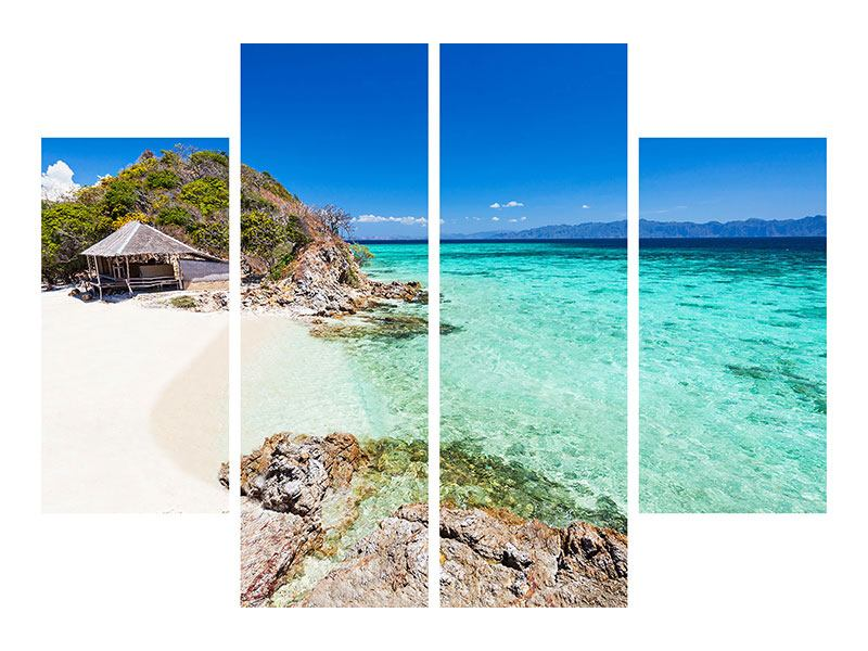 Leinwandbild 4-teilig Das Haus am Strand