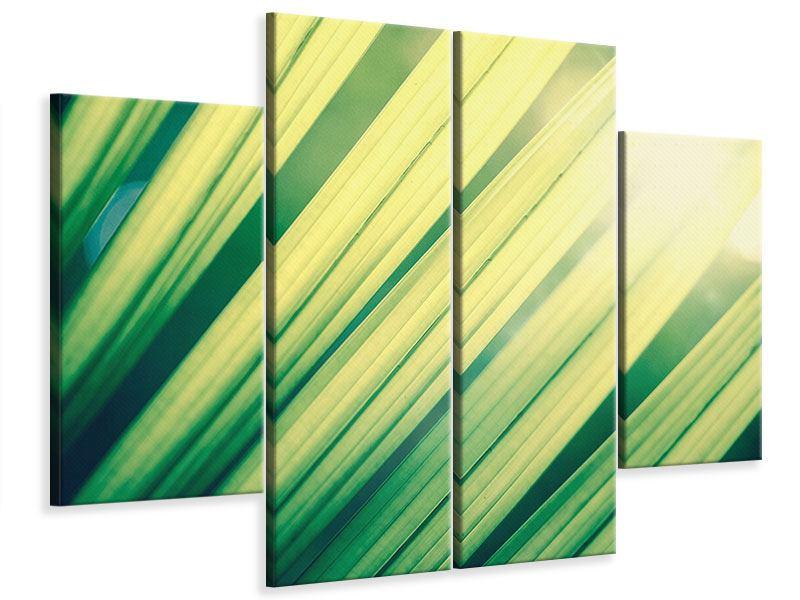 Leinwandbild 4-teilig Beleuchtetes Palmblatt