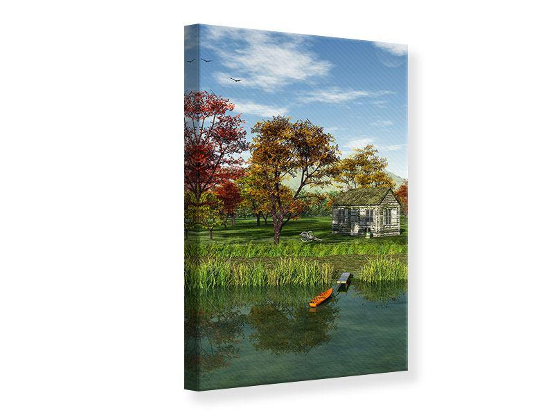 Leinwandbild Haus am See