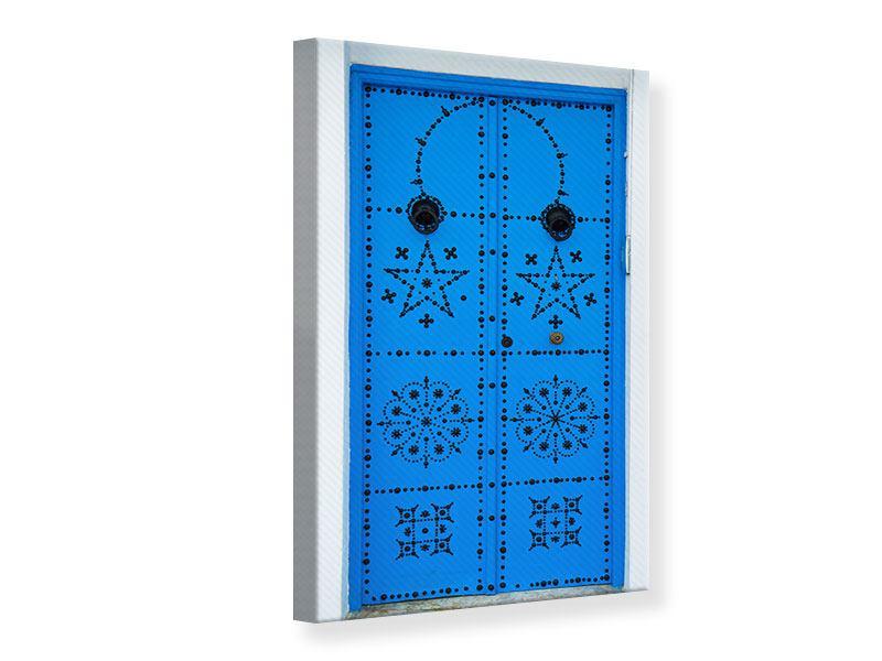 Leinwandbild Blaue Holztür