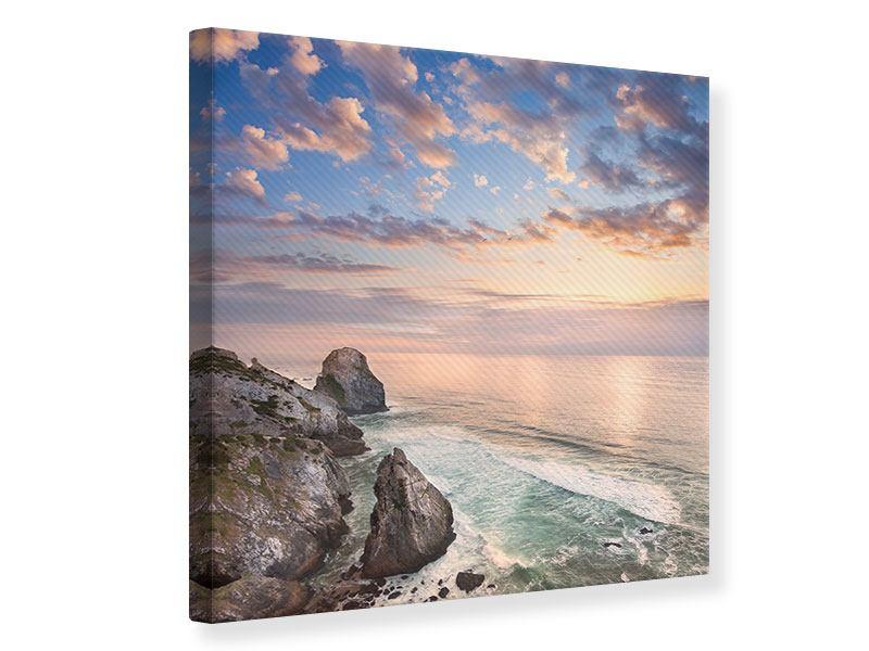 Leinwandbild Romantischer Sonnenuntergang am Meer