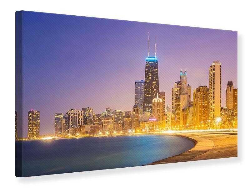 Leinwandbild Skyline Chicago in der Nacht