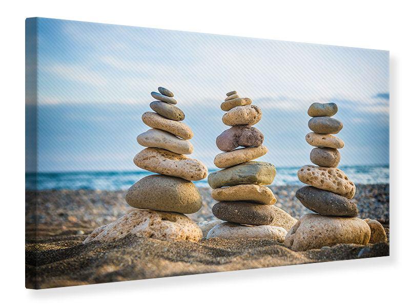 Leinwandbild Drei Steinstapel