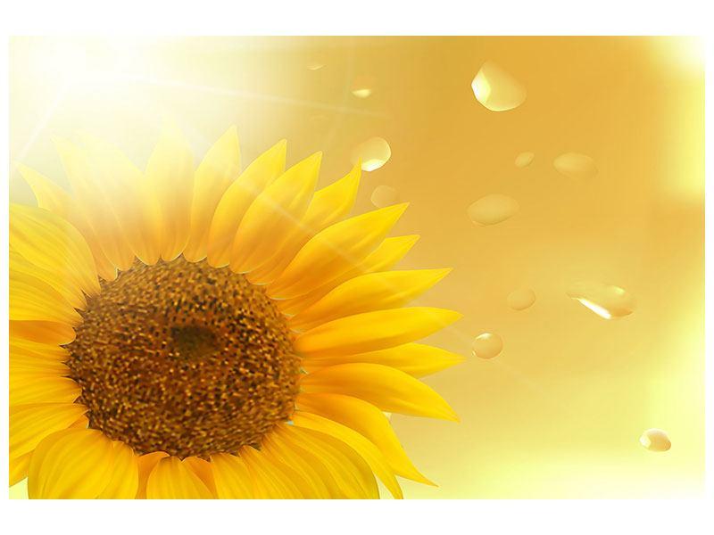 Leinwandbild Sonnenblume im Morgentau