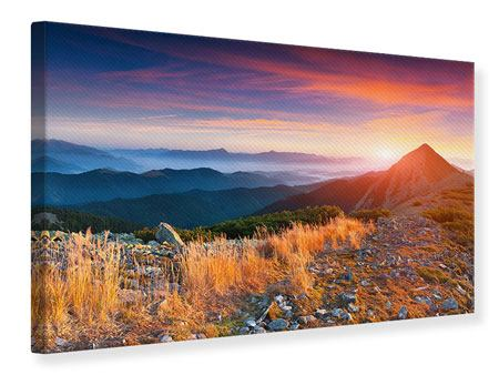 Leinwandbild Sonnenuntergang in den Alpen