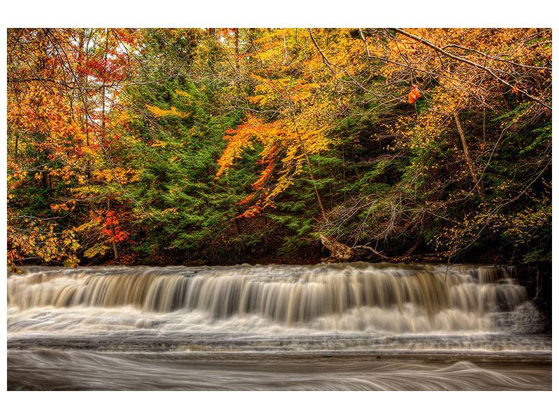 Leinwandbild Herbst beim Wasserfall