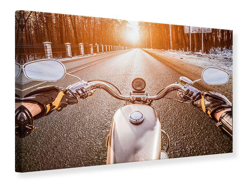 Leinwandbild Auf dem Motorrad