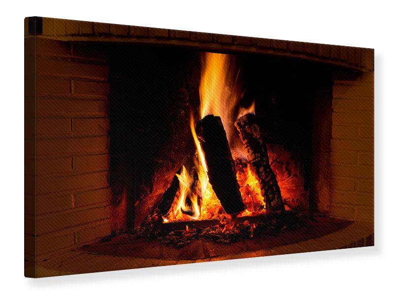 Leinwandbild Feuer im Kamin