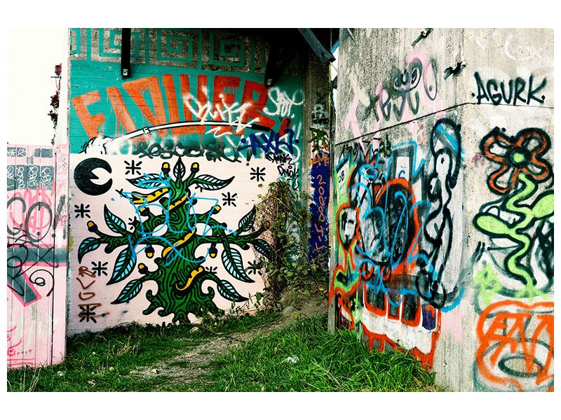 Leinwandbild Graffiti im Hinterhof