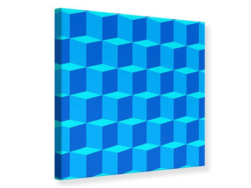 Leinwandbild 3D-Würfel Türkis