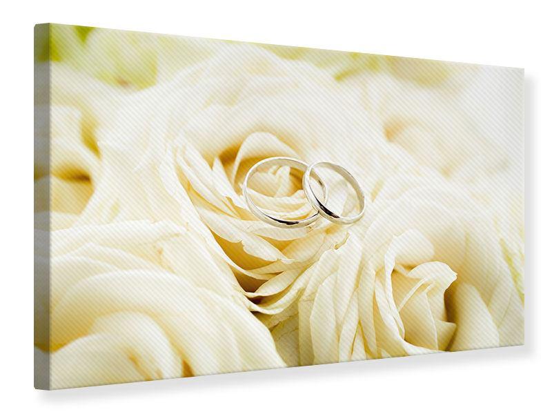 Leinwandbild Trauringe auf Rosen gebettet