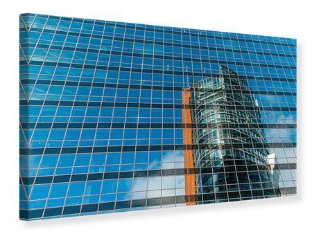 Leinwandbild Wolkenkratzer-Spiegel