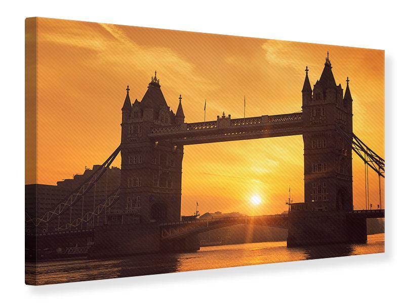 Leinwandbild Sonnenuntergang bei der Tower-Bridge