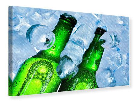 Leinwandbild Eisflaschen
