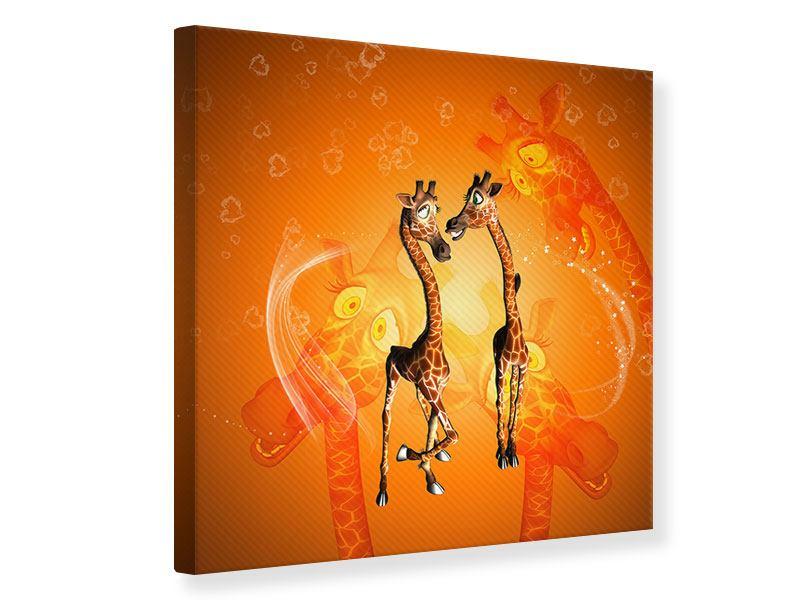 Leinwandbild Giraffen Kinder