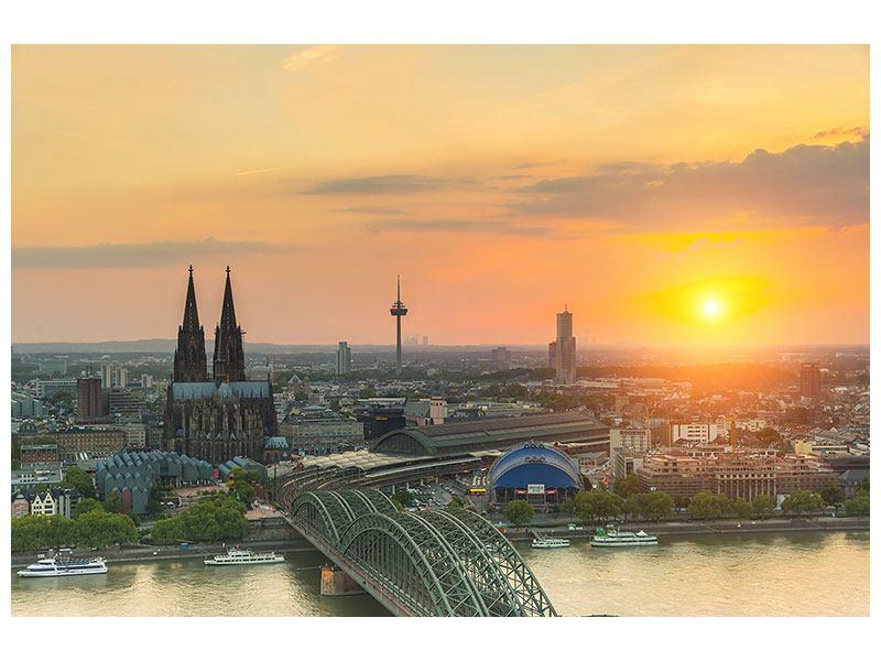 Leinwandbild Skyline Köln bei Sonnenuntergang