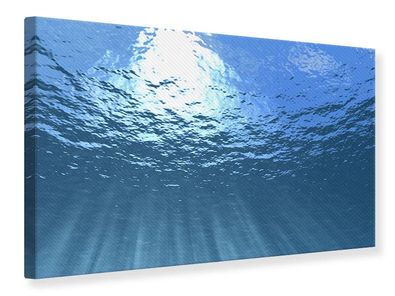 Leinwandbild Sonnenstrahlen unter Wasser