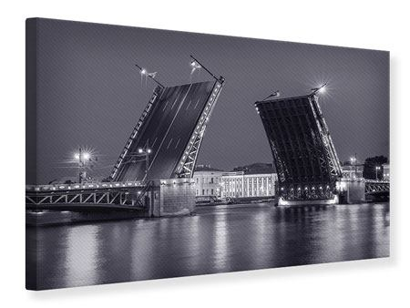 Leinwandbild Klappbrücke bei Nacht