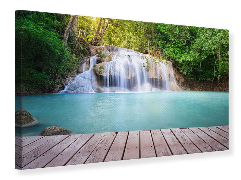 Leinwandbild Terrasse am Wasserfall