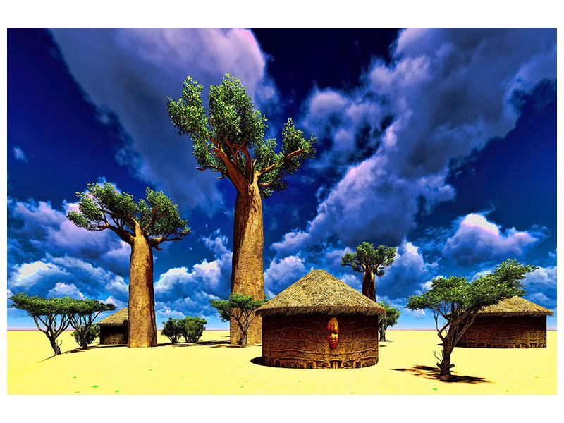 Leinwandbild Ein Dorf in Afrika