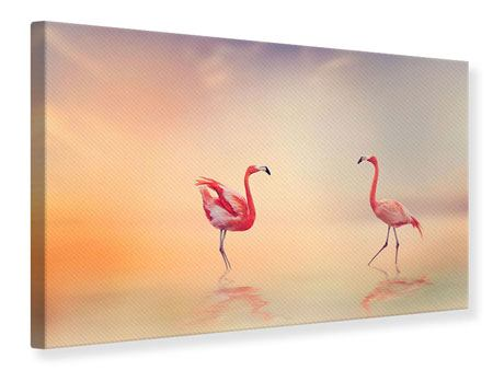 Leinwandbild Romantische Flamingos