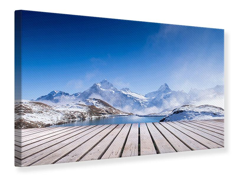 Leinwandbild Sonnenterrasse am Schweizer Bergsee