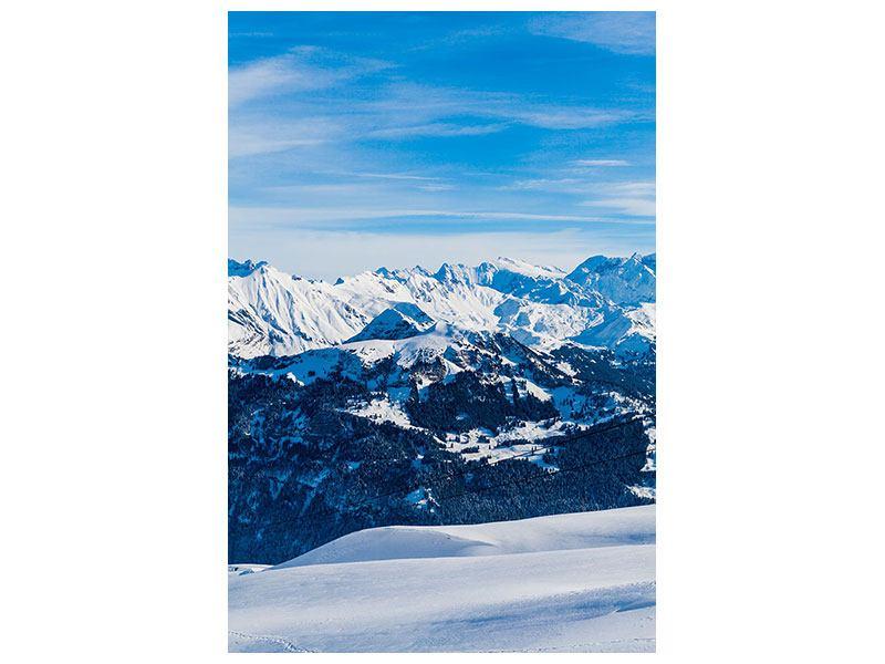 Leinwandbild Verschneiter Gebirgskamm