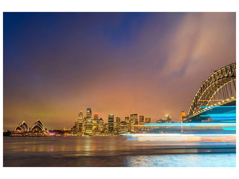 Leinwandbild Skyline Opera House in Sydney im Abendlicht