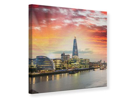 Leinwandbild Skyline London im Abendrot