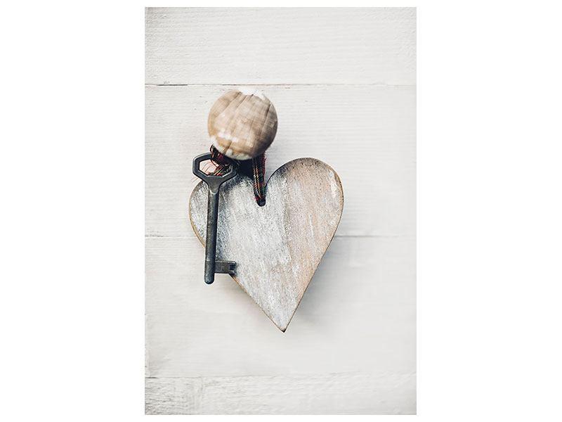 Leinwandbild Herzschlüssel