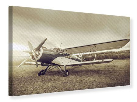 Leinwandbild Nostalgisches Flugzeug im Retrostyle