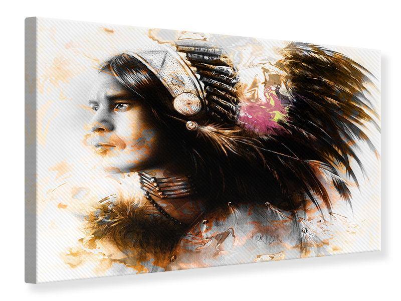 Leinwandbild Kunstvolles Indianer-Portrait