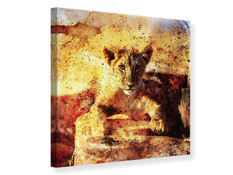 Leinwandbild Kunstvolle Löwin