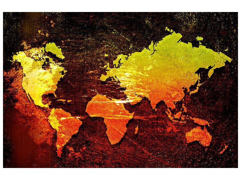 Leinwandbild Retro-Weltkarte