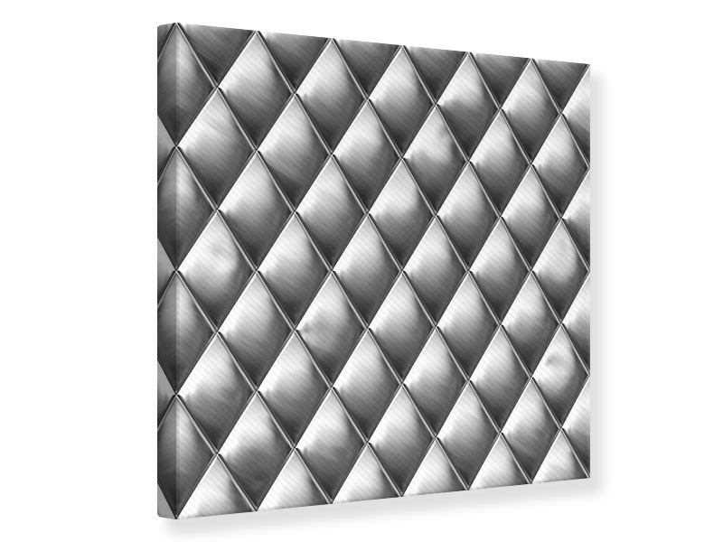 Leinwandbild 3D-Rauten Silbergrau