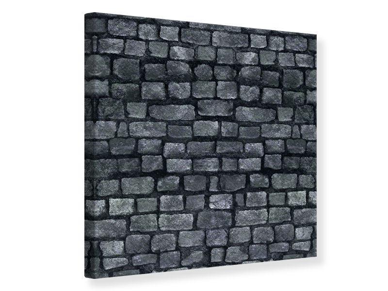 Leinwandbild Graue Steinmauer