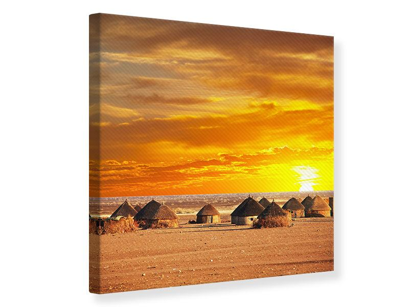 Leinwandbild Afrikanisches Dorf