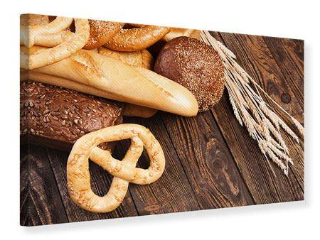 Leinwandbild Brot und Bretzel