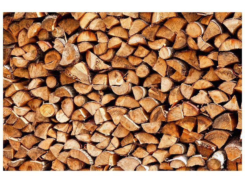 Leinwandbild Gestapeltes Holz