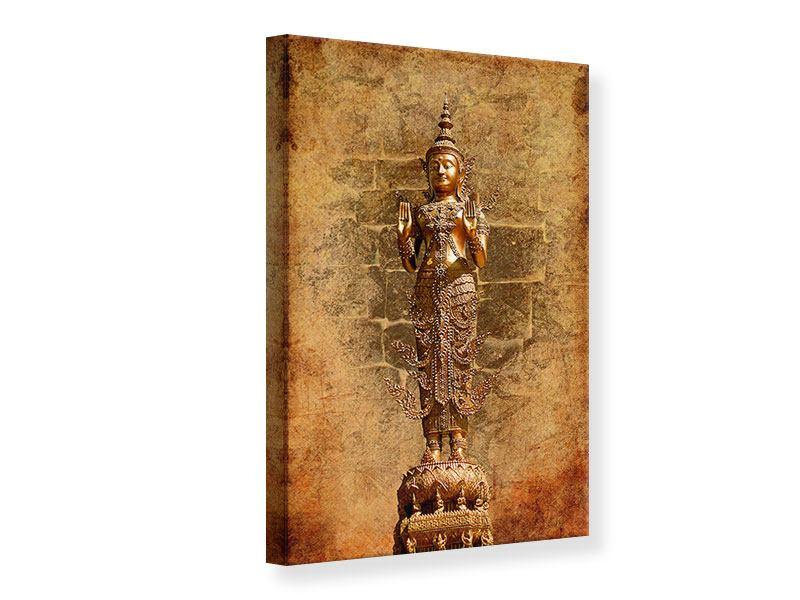 Leinwandbild Goldene Buddha-Statue