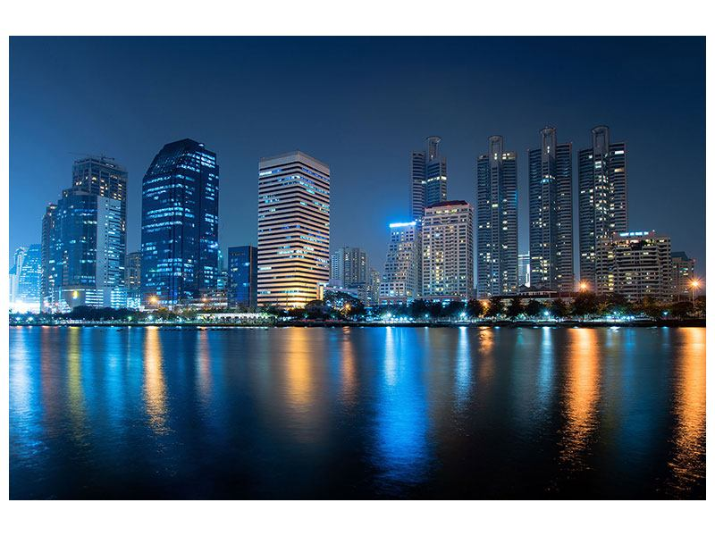 Leinwandbild Skyline Bangkok bei Nacht