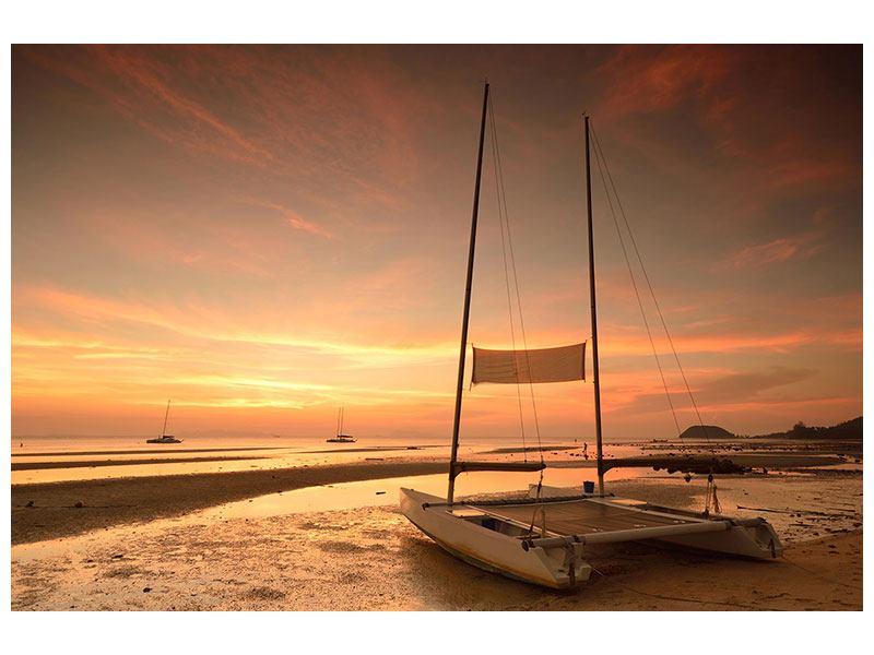 Leinwandbild Sonnenuntergang am Strand