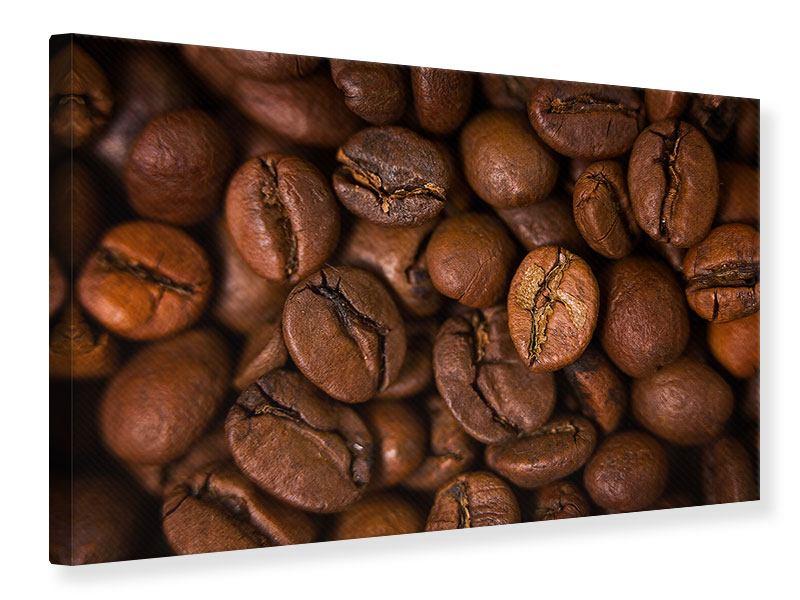 Leinwandbild Close Up Kaffeebohnen