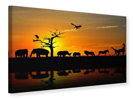 Leinwandbild Safarietiere bei Sonnenuntergang