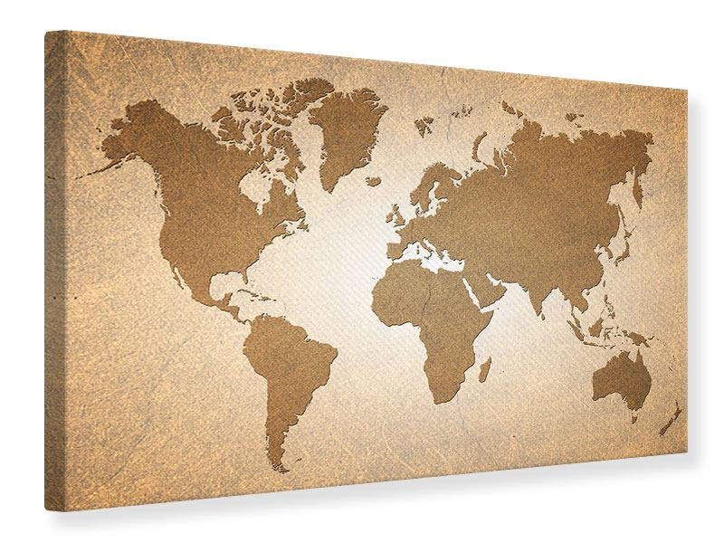 Leinwandbild Karte der Welt in Vintage
