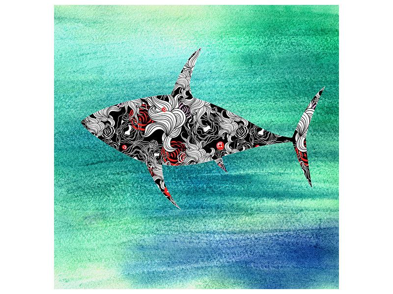 Leinwandbild Haifisch-Ornament